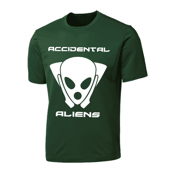 Accidental Aliens T-Shirt dark green white logo