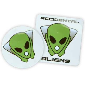 Accidental Aliens Logo Sticker Both