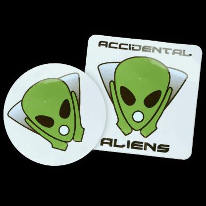 Accidental Aliens Logo Sticker Both